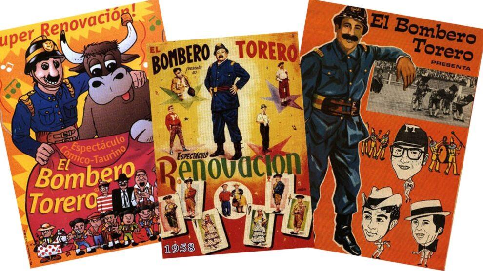 Imágenes de carteles de distintas épocas del espectáculos el 'Bombero torero'.