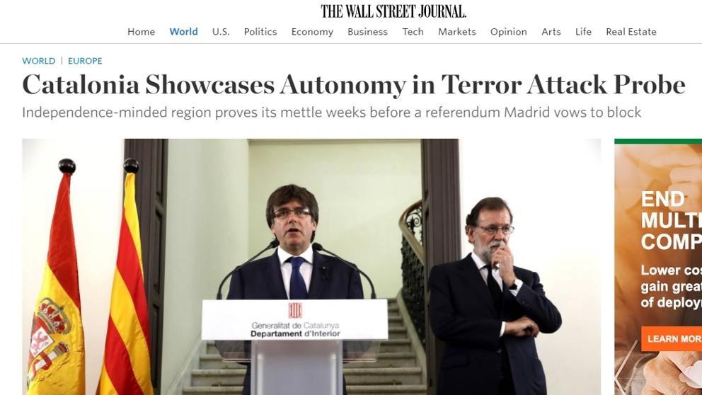 Captura de pantalla del artículo publicado por el Wall Street Journal.