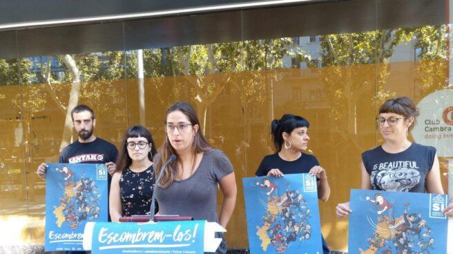 Los miembros de Izquierda Independentista, durante la presentación.