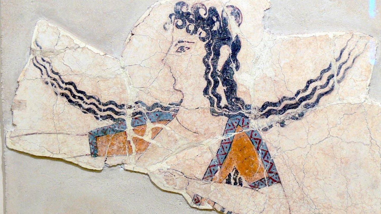 Fresco de la bailarina en el Palacio minoico de Knossos.