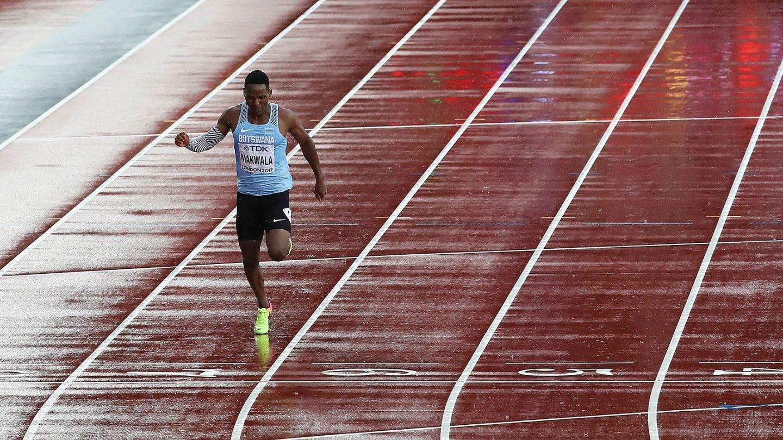 Isaac Makwala, en su carrera en soledad en el Mundial de Atletismo de Londres.