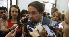 El secretario general de Podemos, Pablo Iglesias, este miércoles en el Congreso.