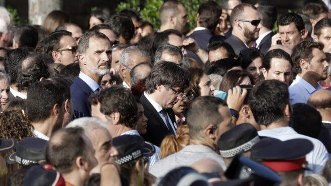 Carles Puigdemont, en la manifestación de Barcelona.