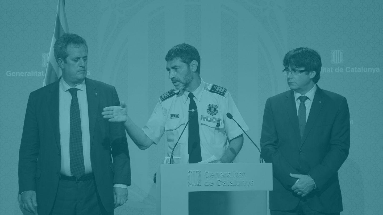 Rueda de prensa de Jope Lluís Trapero y Carles Puigdemont.