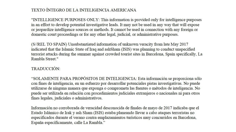 Texto íntegro de la inteligencia americana sobre el atentado de La Rambla