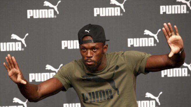 Usain Bolt, en un acto promocional previo al Mundial de Atletismo de Londres, donde sólo participará en los 100 metros y el relevo 4x100.