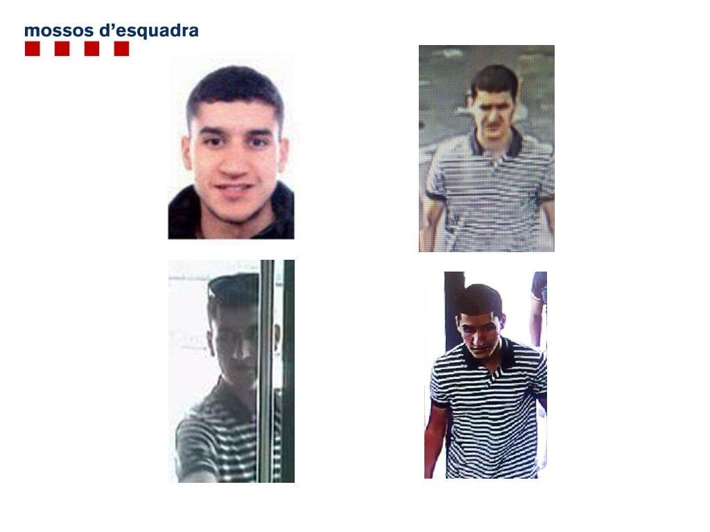 Nuevas fotografías del terrorista huido Younes Abouyaaqoub difundidas por los Mossos d'Esquadra.