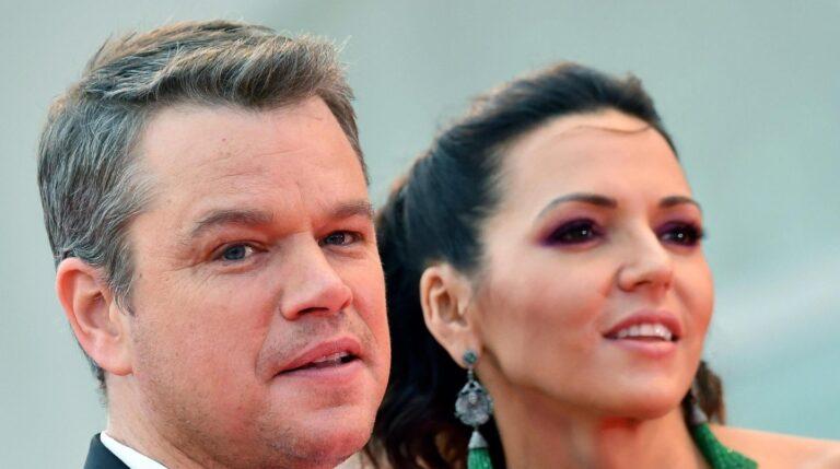 Matt Damon y su mujer Luciana Barroso.