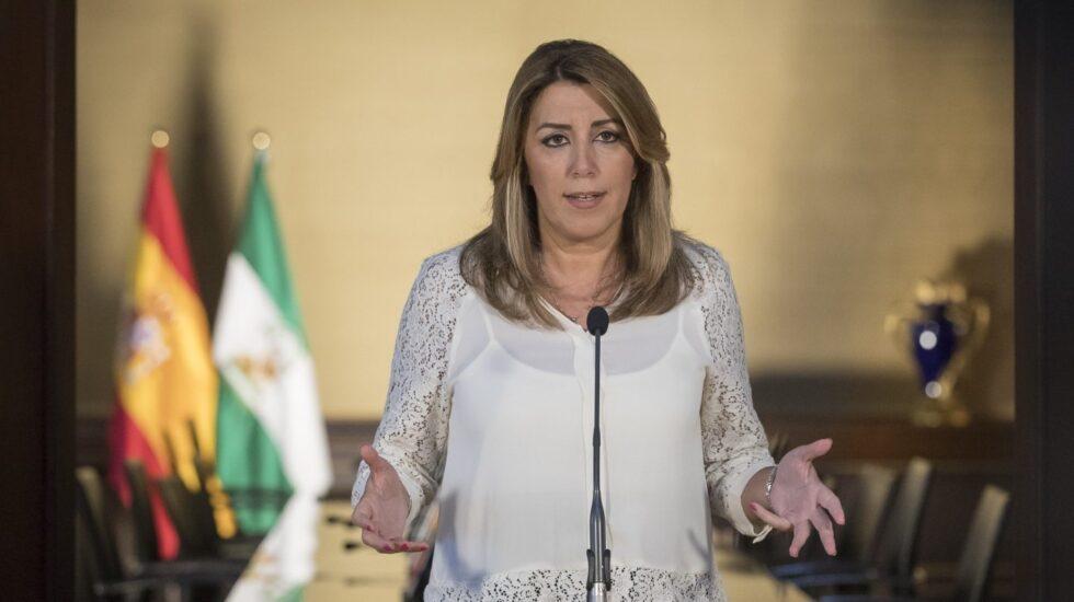 La presidenta andaluza, Susana Díaz, comparece tras el acuerdo entre PSOE y Ciudadanos para los presupuestos de 2018.