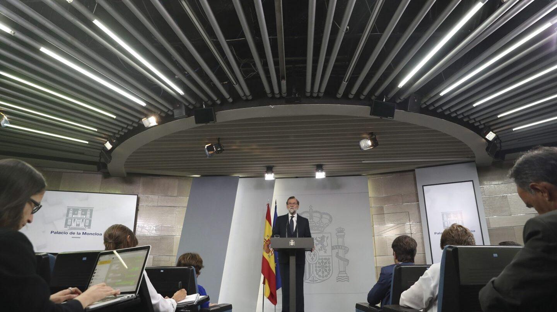 Mariano Rajoy, durante su comparecencia en el Palacio de la Moncloa.