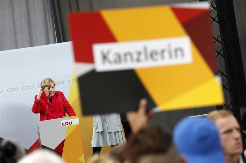 Angela Merkel, canciller alemana, durante un mitin en Wismar, en el norte del país.