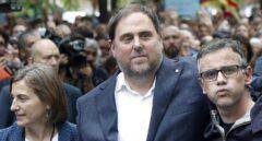 Josep María Jové, junto a Forcadell y Junqueras tras recuperar la libertad.