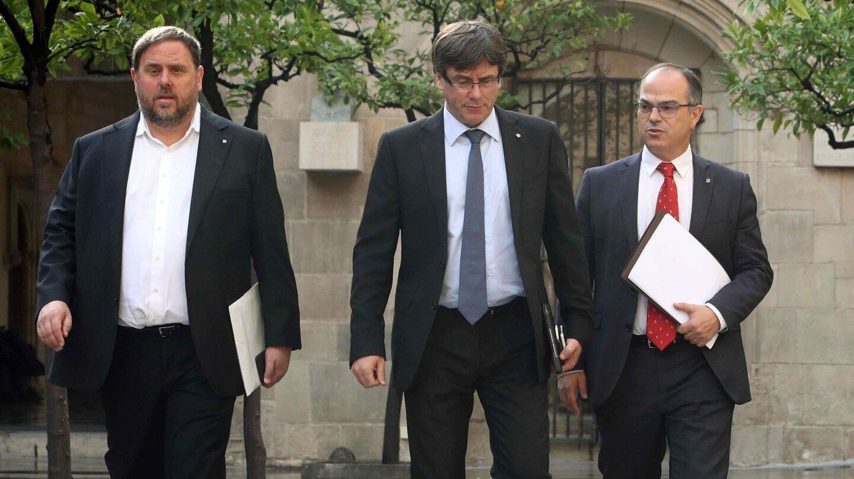 Referéndum 1-O: Junqueras, Puigdemont y Turull, en la Generalitat.
