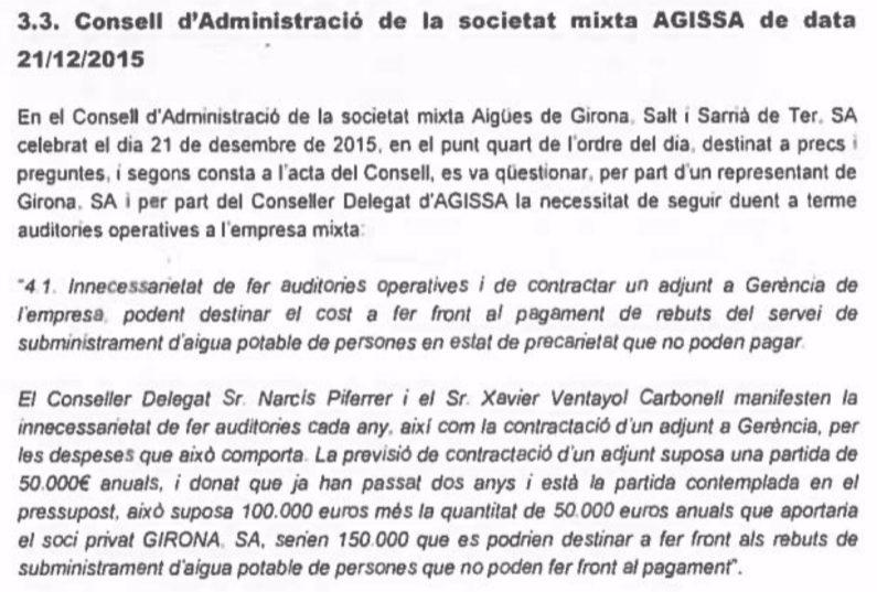 Extracto del acta de la reunión del consejo de administración de Agissa del 21 de diciembre de 2015.