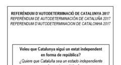 Papeleta del referéndum 1-O.