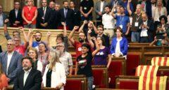 Ley del Referéndum: los diputados de la CUP, en el Parlament.