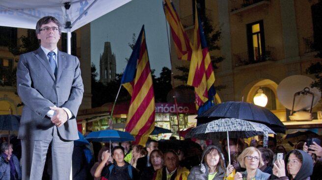 Puigdemont, en un mitin en Girona.