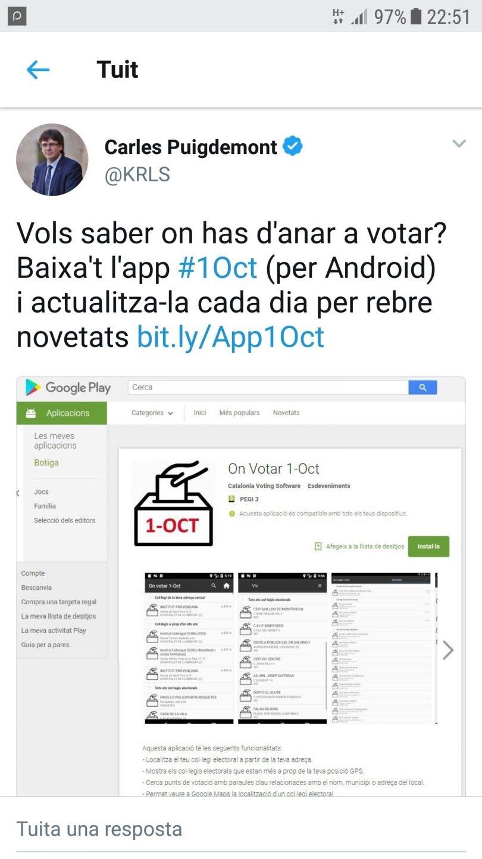 Tuit de Puigdemont para saber dónde se puede votar.