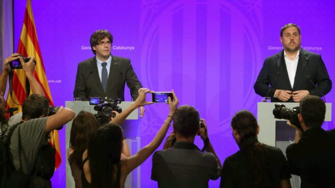 Referéndum 1-O: Puigdemont y Junqueras, esta tarde en la Generalitat.