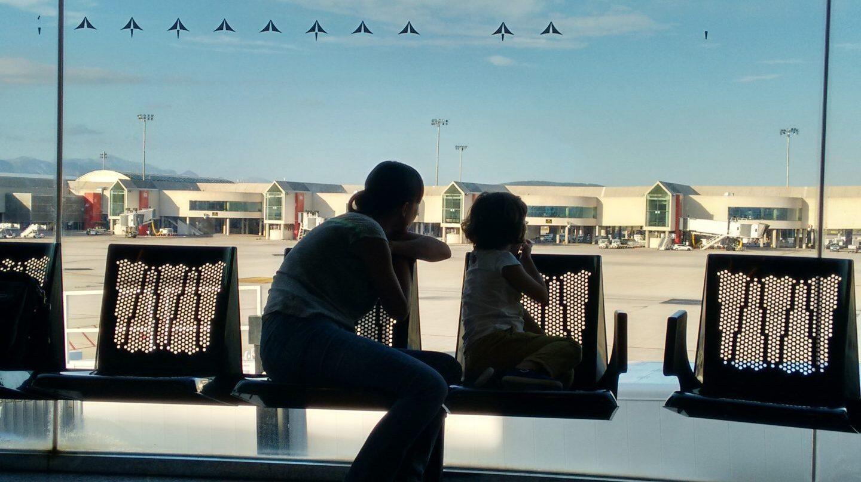 Pasajeros en el aeropuerto de Palma de Mallorca.