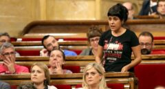 Anna Gabriel, durante el pleno del Parlament para debatir la Ley del Referéndum.