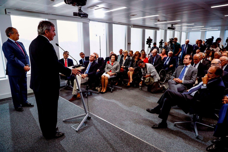 El presidente del Círculo de Empresarios, Javier Vega de Seoane, durante la presentación de una declaración institucional sobre la situación en Cataluña.