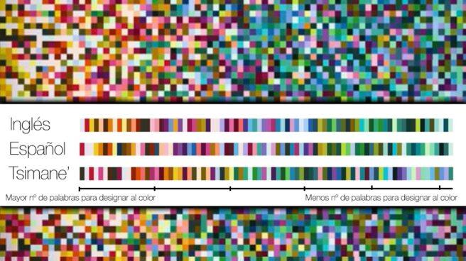 A la izquierda, los colores que tienen más palabras para ser nombrados en distintas lenguas