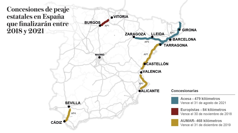 Concesiones de peaje estatales en España que finalizarán entre 2018 y 2021