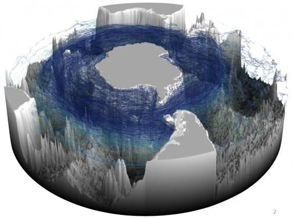 Corriente en espiral en la Antártida