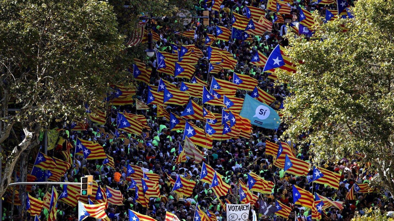 Un momento de la manifestación de la Diada en Barcelona.