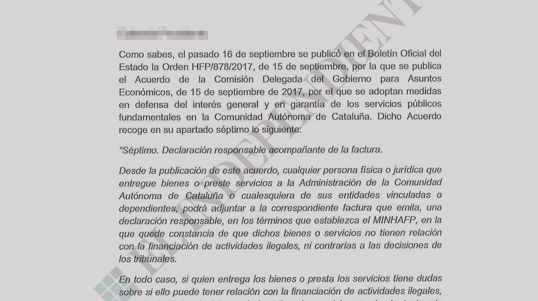 Carta remitida por el ministro de Hacienda, Cristóbal Montoro, a las patronales.