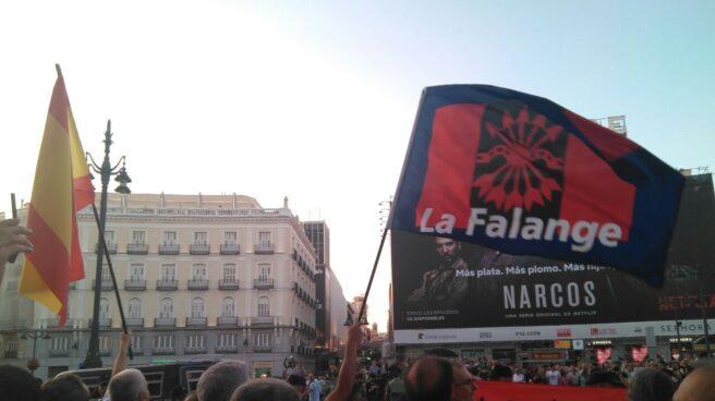 La Falange, en una manifestación en la Puerta del Sol.