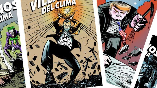 Ilustraciones del informe 'Villanos del Clima' de Raúl Arias para Greenpeace.