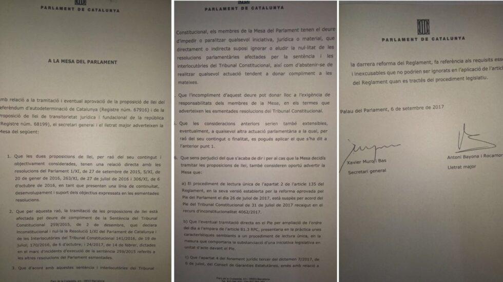 Informe de los letrados del Parlament donde advierten de la desobediencia al Tribunal Constitucional.