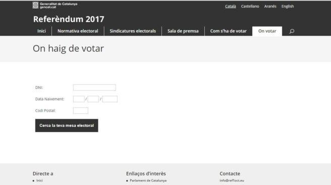 Link de la web facilitada por Puigdemont para que puedan votar los catalanes el referéndum.