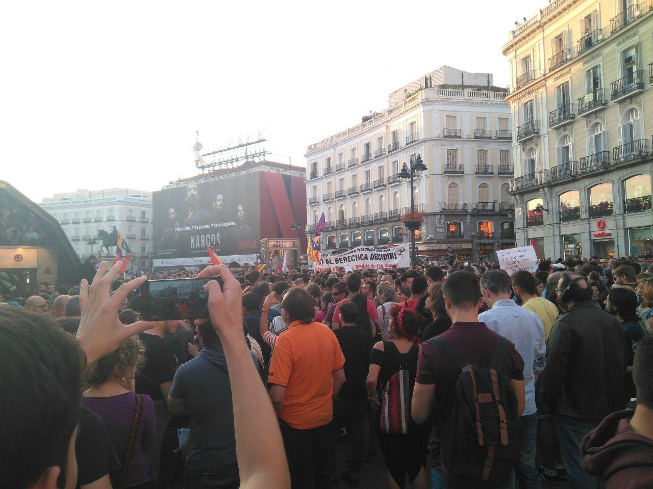 Manifestación pro referéndum en la Puerta del Sol de Madrid.