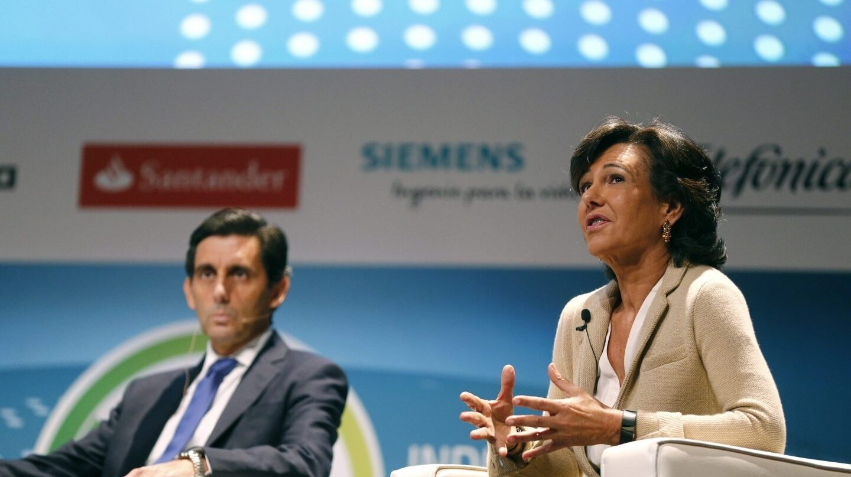 El presidente de Telefónica, José María Álvarez-Pallete, y la de Santander, Ana Botín.