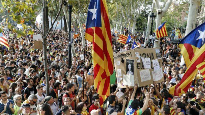 Un instante de la concentración en Barcelona.