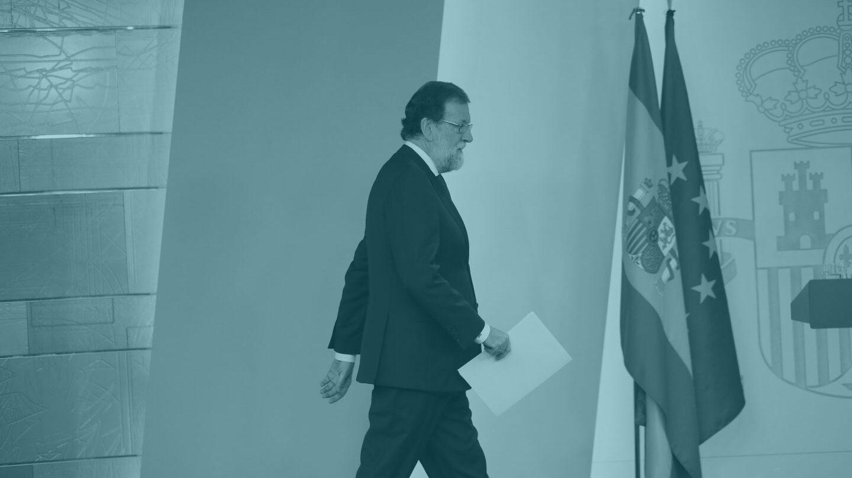 Mariano Rajoy, tras su comparecencia en el Palacio de la Moncloa.