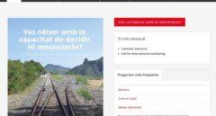 Pantallazo de la página web referéndum.cat, antes de su cierre.