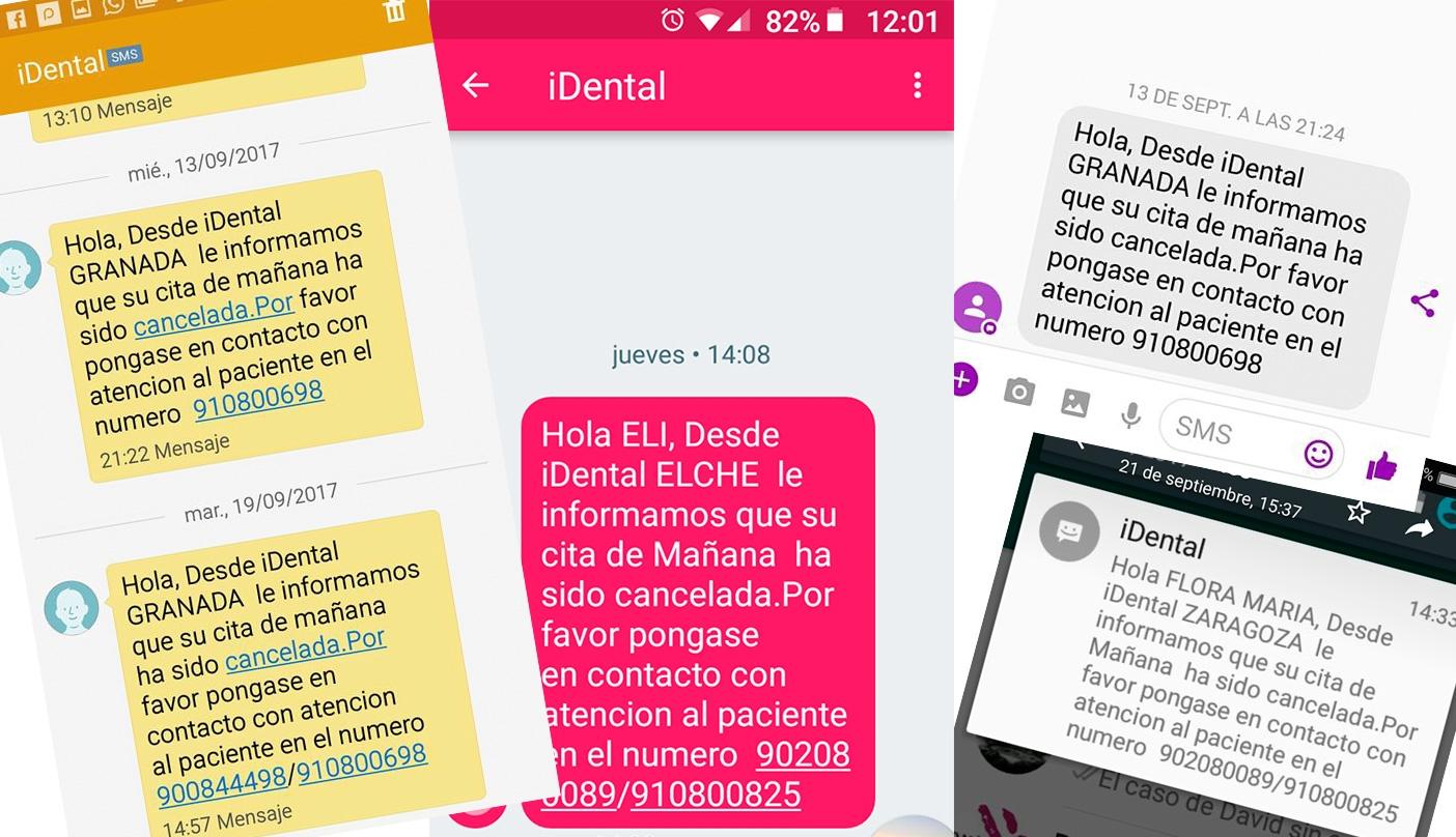 SMS enviados a usuarios de distintas clínicas con la cancelación de citas.