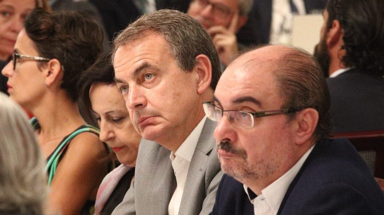 Zapatero y Lambán en el Desayuno Informativo de Europa Press con Pedro Sánchez.