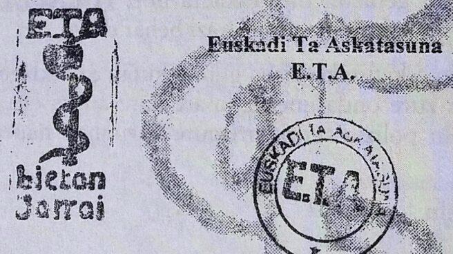Sello de una carta de ETA reclamando el pago del denominado 'impuesto revolucionario' a un empresario vasco.