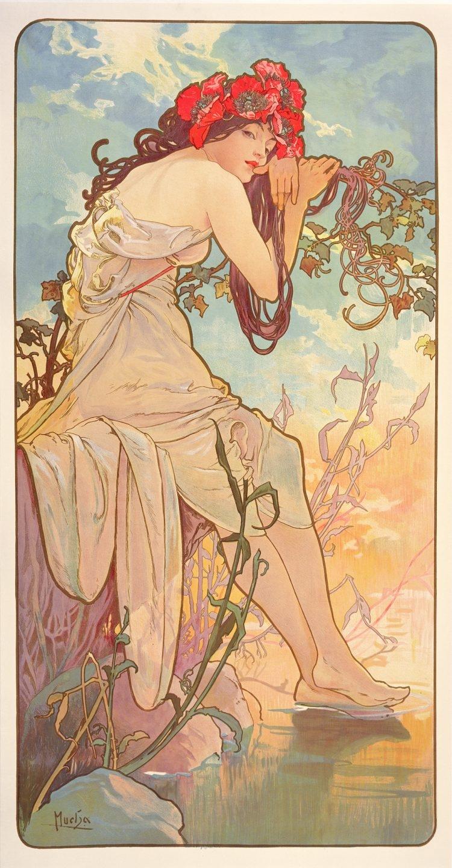 Las estaciones, verano 1896, Litografía en color.