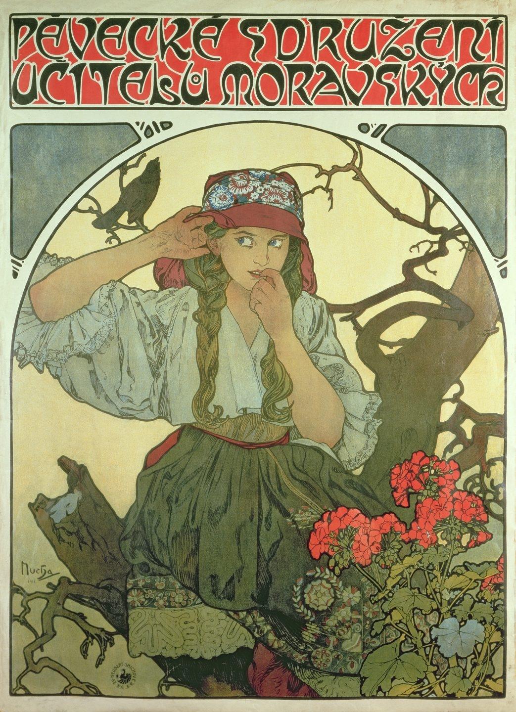 "Cartel para ""Moravian Teachers' Choir"", 1911, litografía a color."
