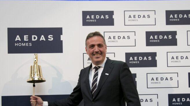 El consejero delegado de Aedas, David Martínez, en el momento del debut de la inmobiliaria en bolsa.