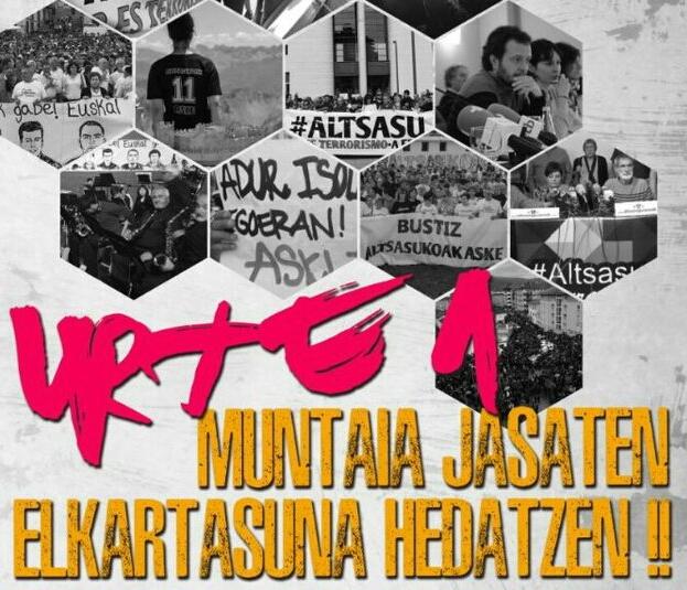 Cartel anunciador de las movilizaciones en apoyo a los acusados al cumplirse un año de los altercados en Alsasua.