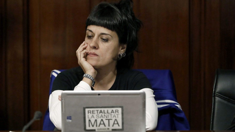 Anna Gabriel (CUP), en su comparecencia en el Parlament.