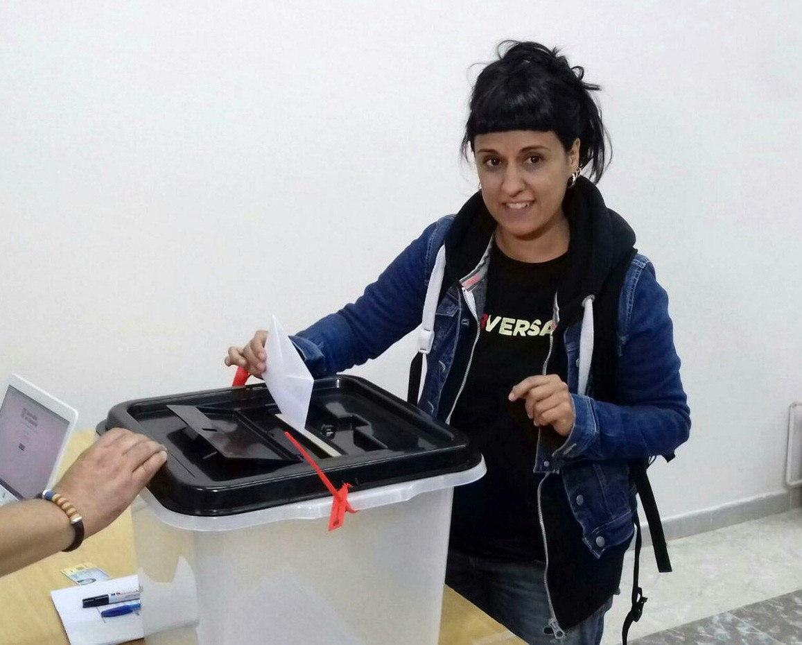 Anna Gabriel, votando el pasado 1-O en un colegio de Sallent de Llobregat (Barcelona).