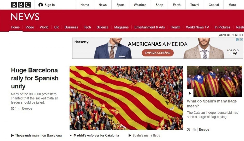 """Los medios internacionales se hacen eco de la """"gigantesca"""" manifestación a favor de la unidad en Barcelona"""